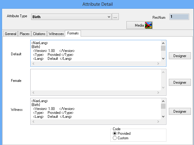Formats Tab Sheet on the Attribute Detail form