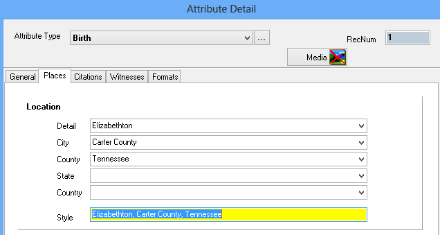 Places Tab Sheet on the Attribute Detail form